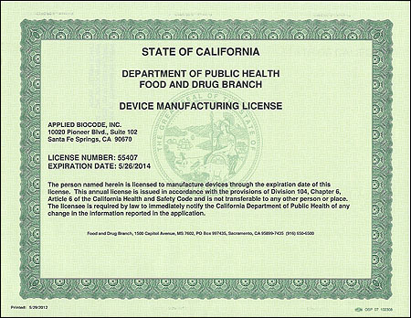 Devicemanufacturing License Has Been Issued To Applied Biocode